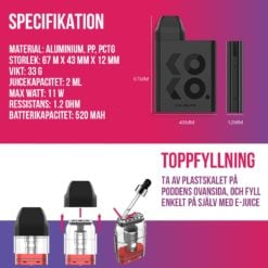 Uwell Caliburn Koko e-cigarett kit - Påfyllning