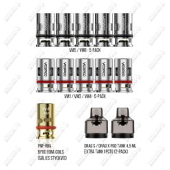Voopoo PNP coils & PNP RBA och DRAG S/X POD TANK
