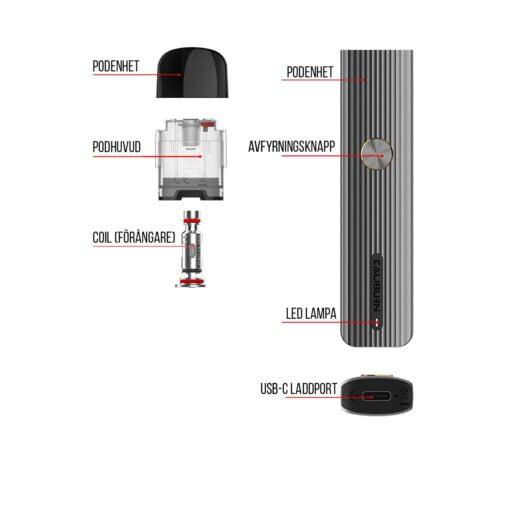 Uwell Caliburn G e-cigarett - Detaljerad vy